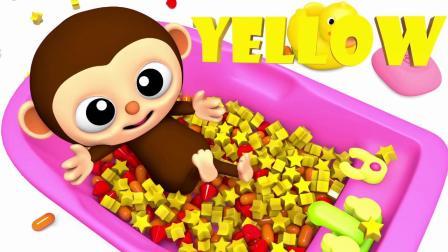 宝宝学颜色,猴宝宝在大浴盆玩各种颜色形状的小玩具,亲子早教