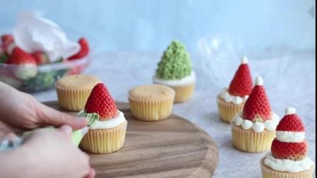 越简单越美味,圣诞风草莓杯子蛋糕
