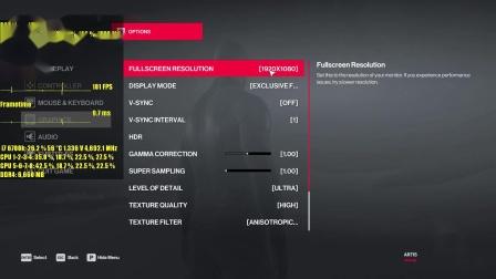 杀手2-GTX970 OC-1080p帧数测试