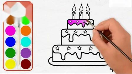 儿童生日蛋糕画和着色页