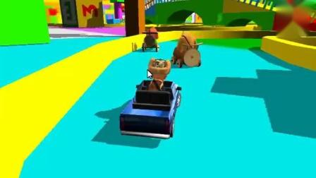 小胖解说原地打转的光头强 熊出没卡丁车小游戏