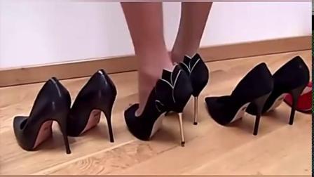 美女多双高跟鞋试穿,你喜欢那一双?