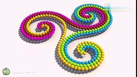 幼儿色彩启蒙:3D棒棒糖围成了彩色手指陀螺图案
