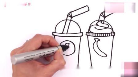 彩绘简笔画,跟小猪佩奇一起来画冰淇淋果汁吧,提高宝宝的创造力