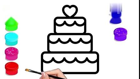 趣味简笔画:画彩虹奶油蛋糕