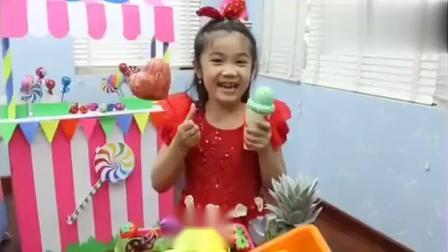 趣玩,韩娜和托尼假装玩糖果冰淇淋车食品玩具,太开心了