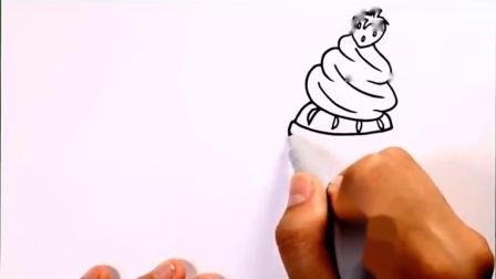 亲子涂色画:奶油蛋糕蛋挞