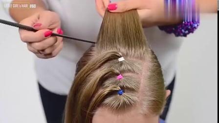 大方又不失可爱的女童花式马尾辫编发,非常适合幼儿园和小学女生
