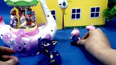 玩旋转木马和蛋星勇士儿童玩具的小猪页面