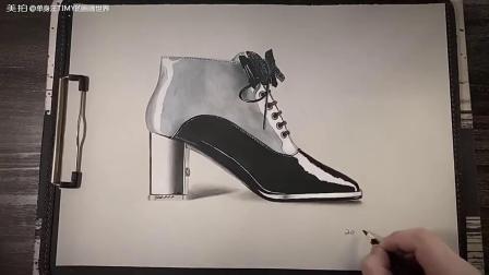 手绘高跟鞋描线到上色