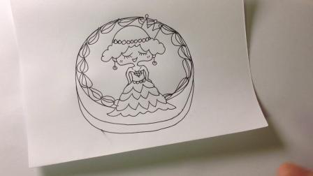 金龙手绘简笔画.白富美生日蛋糕的画法
