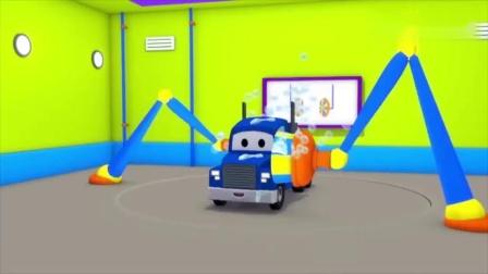 汽车城之汤姆的洗车店超级卡车卡尔被砖墙弄脏了儿童卡通动画