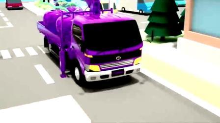 趣味动画:汽车警车装上西瓜草莓轮胎驶出车库学颜色
