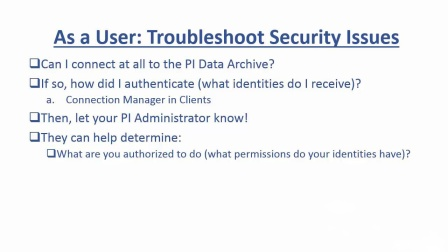No.10 Basic PI Data Archive Security Troubleshooting- Check Common Errors & User