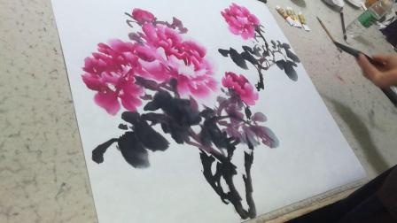 赵孝朝国画牡丹创作展示