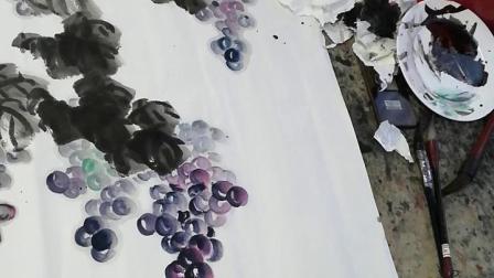 花鸟画一年级_20181207_葡萄、叶子、藤四尺方斗讲课作品——赵石钢老师讲课