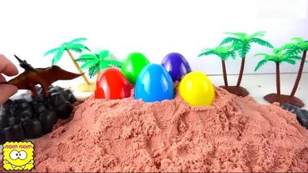 学习颜色和恐龙儿童玩具滑块和恐龙玩具教育视频