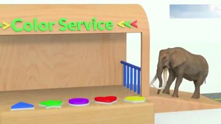 色彩学习,狮子、恐龙、老虎、大猩猩用足球染色变身