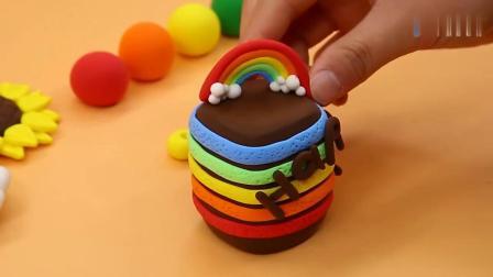 《方块熊乐园》黏土蛋糕制作开始了,七彩的哦!