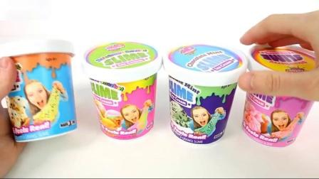 食品黏土曲奇面团彩虹果冻和薄荷冰淇淋冰淇淋