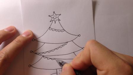 金龙手绘:圣诞节简笔画-圣诞树的画法