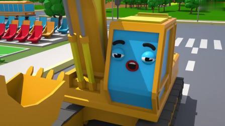 挖掘机动画片 挖掘机挖土汽车过马路遇到障碍了