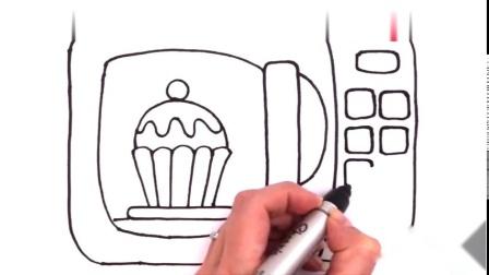 童心童画彩绘画神奇的微波炉-魔法微波炉里有个纸杯蛋糕-小伶玩具