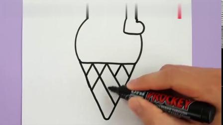 夏天到啦,来画一只可爱的冰淇凌吧!简单易学的卡通简笔画教程
