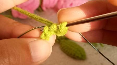 可米手工编织毛线玫瑰花盆栽钩针毛线花束玫瑰花教程新手编织全教程