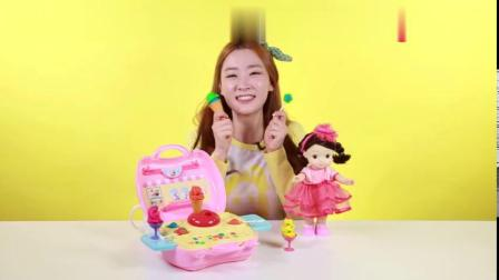爱丽和小凯利洋娃娃的冰淇淋制作玩具|爱丽和故事