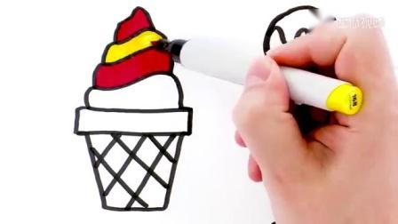 亲子简笔画:8只雪糕吃吃