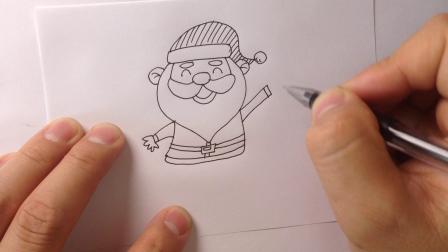 圣诞节简笔画-圣诞老人怎么画8