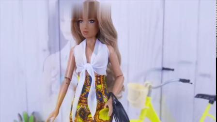 「迷你娃衣DIY教程」给芭比娃娃做一套衣服-绑带上衣和阔脚花裤