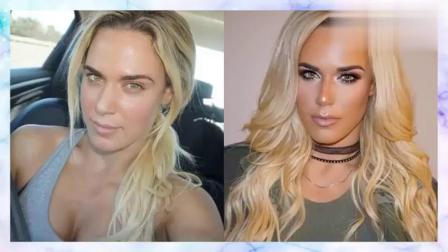 WWE女选手化妆照与素颜照对比