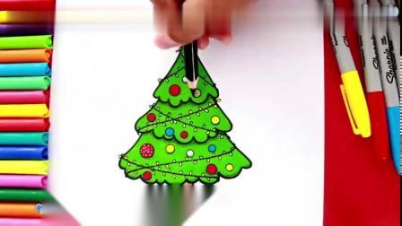 教你3分钟画出一颗漂亮的圣诞树~儿童益智简笔画