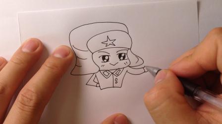 金龙手绘简笔画.教你画卡通雷锋