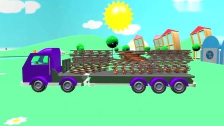 建造火车和铁路,开发儿童智力教育卡通片