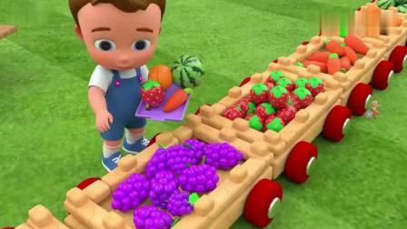 儿童动画,小男孩吃香蕉、菠萝、葡萄、苹果、西瓜、胡萝卜