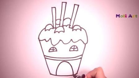 简笔画冰淇淋笔画图片大全儿童画幼乐园画画作业简笔画学英语