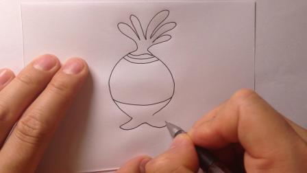 海底小纵队简笔画-植物鱼小萝卜