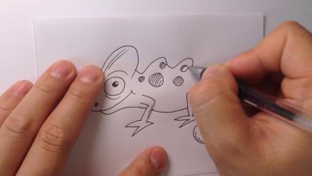 金龙手绘简笔画-变色龙的画法