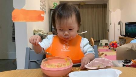 【朱耿耿日食记16M10D】晚餐:西葫芦➕猪肉鲜虾球➕彩蔬蒸蛋➕香蕉松饼