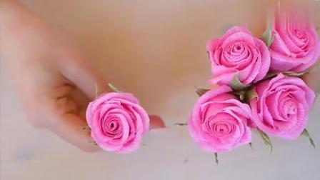 DIY手工制作漂亮的粉色玫瑰花朵,装饰屋子