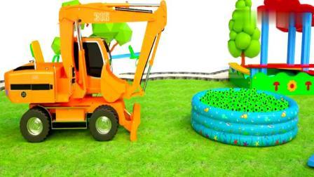 益智早教动画视频,推土机从泳池运来彩球,教宝宝学习色彩!