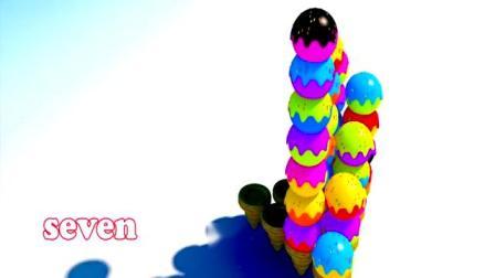 益智早教视频,依次高度排列的三角形脆皮冰激凌塔,学习色彩英语!