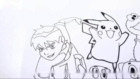 卡通人物彩绘书4本10曲奇怪兽口香糖和派卡丘