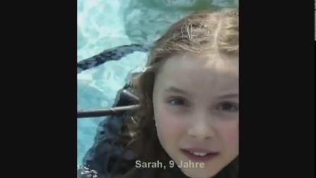 The little girl practiced diving under full cover