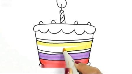 如何绘制生日蛋糕颜色绘画和绘画如何着色的儿童