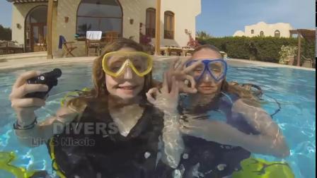 Two naughty girls scuba diving