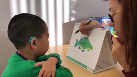 小宝五岁一个月,自闭症。语言训练师测试小宝的英文发音